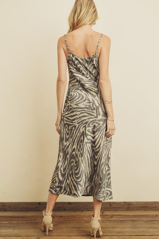 Soft Satin Zebra Print Dress - Lylah's