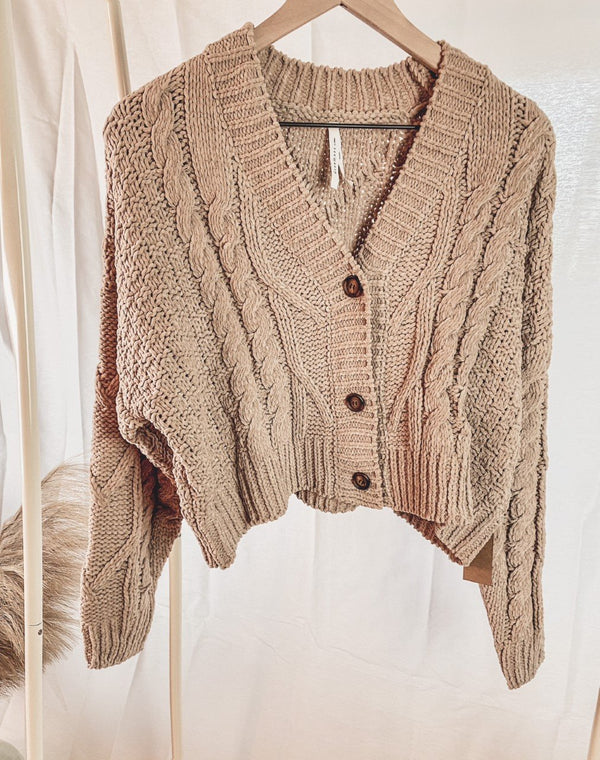Lola Cable Knit Cropped Cardigan - Lylah's