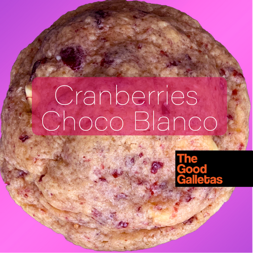 Cranberries + Chocolate Blanco 1 unidad 90 Grs. thegoodgalletas