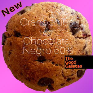 Lady Morena: Galleta de Cranberries y Chocolate Negro 60% 1 unidad 90 Grs. The Good Galletas