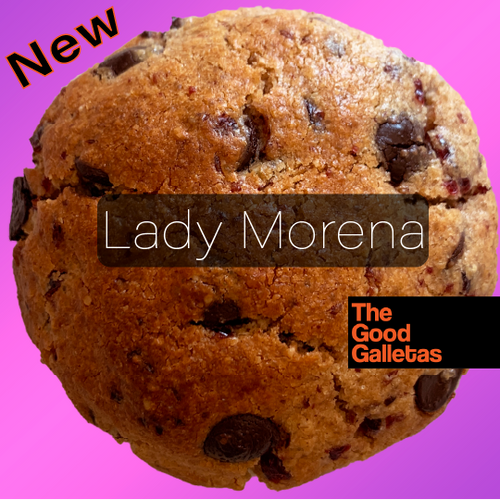 Lady Morena: Galleta de Cranberries y Chocolate Negro 60% 1 unidad 110 Grs. The Good Galletas