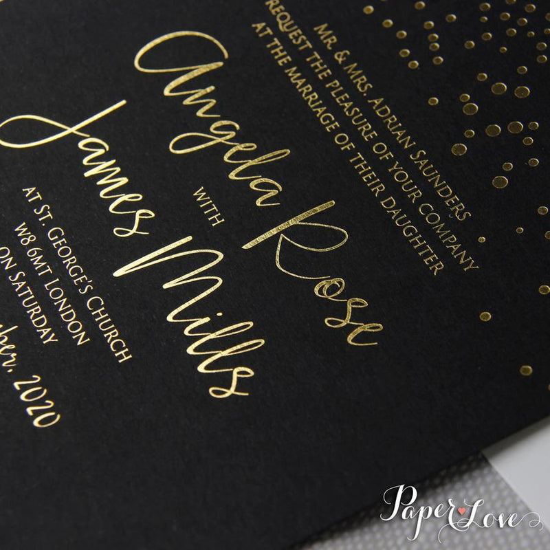 Wedding Invitations with Foil Confetti Elegant  Invitation + Envelope