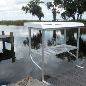 "Two Leg CM Fish Cleaning Station Fillet Table over water 50""L x 23""D x 38""H- FCS04-2 - Marine Fiberglass Direct"