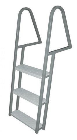JIF Marine - 3 Step Tie Down Dock Ladder - Galvanized Steel - FDQ3-GA - Marine Fiberglass Direct
