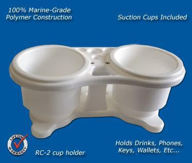"Double Beverage/Cup/Drink Holder- 10 1/8"" x 4 5/8"" x 4"" - RC2 - Marine Fiberglass Direct"