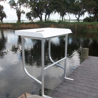 "Sea-Line Water Fish Cleaning Station Fillet Table Dock Boating Aluminum 40""L x 23""D x 38""H- SLFCS40-2 - Marine Fiberglass Direct"