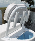 Backrest BRRHLPLW with 3 Aluminum Rod Holders for CMLPLW - Marine Fiberglass Direct