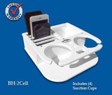 "Double Beverage/Cup/Drink & Cell Phone Holders w/ Storage- 9 3/4"" x 9 3/4"" x 3"" -BH2CELL - Marine Fiberglass Direct"