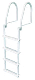 JIF Marine - 4 Step Flip Up Ladder - White - FBM4 - Marine Fiberglass Direct