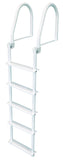 JIF Marine - 5 Step Flip Up Ladder - White - FBM5 - Marine Fiberglass Direct