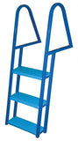 JIF Marine - 3 Step Tie Down Dock Ladder - Galvanized Steel - Blue Powder Coat - FDQ3-PC - Marine Fiberglass Direct