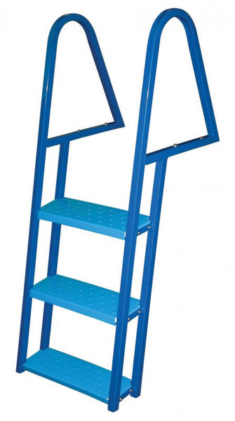 3 Step Tie Down Dock Ladder Galvanized Steel Blue