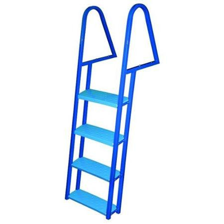 JIF Marine - 4 Step Tie Down Dock Ladder - Galvanized Steel - Blue Powder Coat - FDQ4-PC - Marine Fiberglass Direct