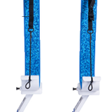Manta Racks - L2K - Fits 1 Kayak/Paddleboard - White w/ Blue Aqua Camo Pad w/ 30° Rod Holder inserts - Marine Fiberglass Direct