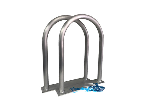"Two (2) Marine Dock & Boat - 24"" H x 16.5"" W - Handrail Grab Bar - Flat Base - Marine Fiberglass Direct"