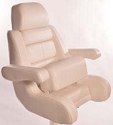"Todd 5 Star ""Flip-Up Bolster"" Helm Seat Only (White) -U9705WH-FB - Marine Fiberglass Direct"