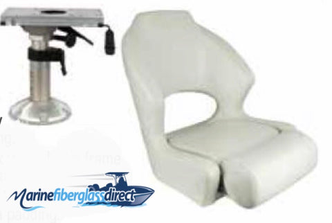 Marine Boat Seat Chair - Premium bucket seat w/flip-up bolster with Adjustable Pedestal and Slide-Donovan