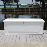 "Fiberglass Dock Box - 26""H X 75""W X 27""D - CM07 With Gas Shocks - Marine Fiberglass Direct"