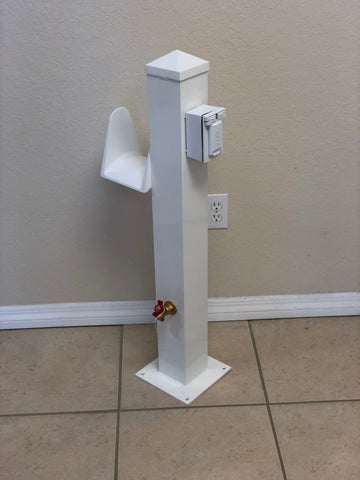 "WATER & ELECTRIC PEDESTAL 36""H x 8""W x 8""D - CMWPE36 - Marine Fiberglass Direct"