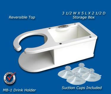 "Single Beverage/Cup/Drink Holder-w/Storage- 14 1/8"" x 5 1/8"" x 3 1/4"" -MB1 - Marine Fiberglass Direct"