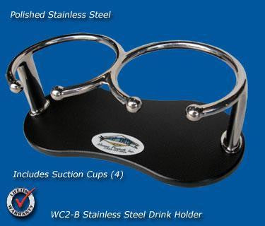 "Stainless Steel Beverage/Cup/Drink Holders- 9"" long -WCH2B - Marine Fiberglass Direct"