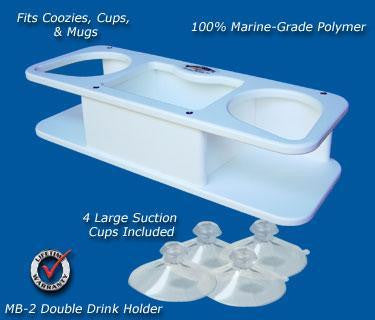 "Double Beverage/Cup/Drink Holder- 14 1/8"" x 5 1/8"" x 3 1/4"" -MB2 - Marine Fiberglass Direct"