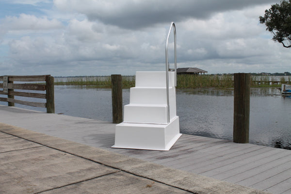 Fiberglass 4 Four Step Stairs With Handrail Marine