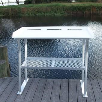 "Four Leg Fish Cleaning Station Fillet Table Dock Boating Aluminum 50""L x 23""D x 38""H- FCS04-4 - Marine Fiberglass Direct"