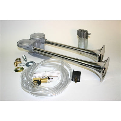 HORN TWIN AIR HORNS WITH COMPRESSOR KIT- STALNLESS STEEL -62330-14 - Marine Fiberglass Direct