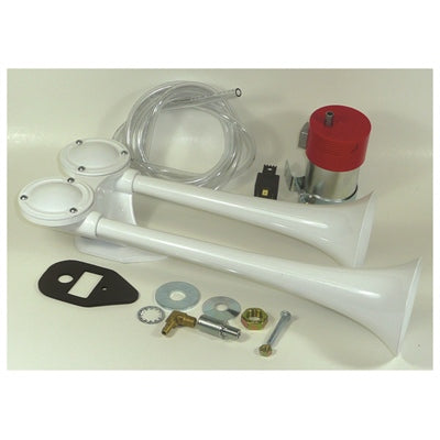 HORN FIAMM FULTONE TWIN AIR HORNS WITH COMPRESSOR KIT- WHITE -62350-12 - Marine Fiberglass Direct