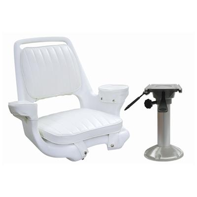 "Marine Boat Seat Chair -Captains Chair with 15"" Pedestal and Slide -Donovan - Marine Fiberglass Direct"