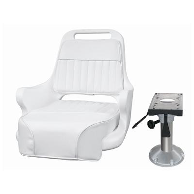 Marine Boat Seat Chair -Ladder Back Pilot Chair Adjustable Pedestal and Slide -Donovan - Marine Fiberglass Direct