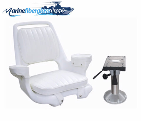 Marine Boat Seat Chair -Captains Chair Adjustable Pedestal and Slide -Donovan - Marine Fiberglass Direct