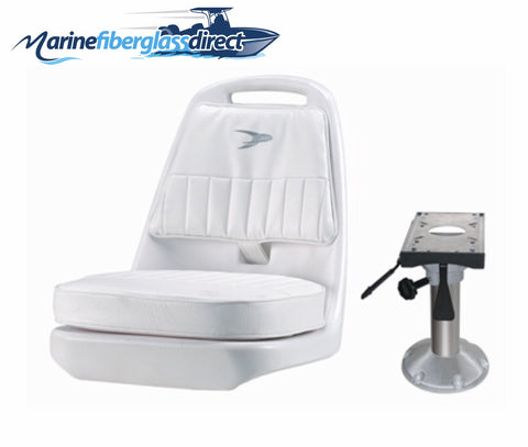 Marine Boat Seat Chair -Standard Pilot Chair with Adjustable Pedestal and Slide -Donovan - Marine Fiberglass Direct