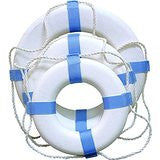 "Taylor Made - 24"" White Decorative Ring Buoy - Marine Fiberglass Direct"