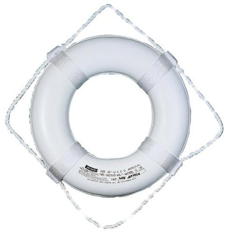 "20"" White Foam Ring Buoy - Single Pack - Marine Fiberglass Direct"