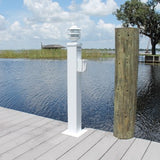 "WATER & ELECTRIC PEDESTAL with LIGHT 36""H x 8""W x 8""D - CMWPEL36 - Marine Fiberglass Direct"