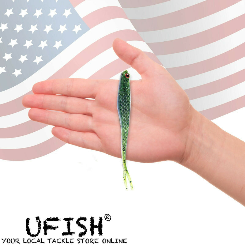 UFISH - 20pc Split Tail Fishing Lure , Jigging Swimbait, Bass Fishing Jerkbait