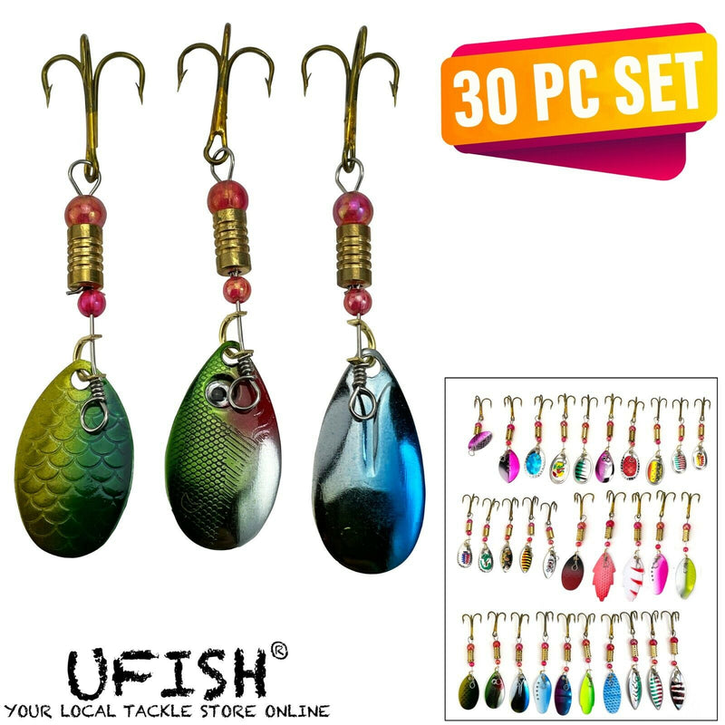 UFISH - 30pc Set Trout Spoon Metal Fishing Lures Spinner Baits Bass Tackle