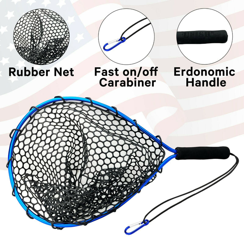UFISH - Fishing landing net, Rubber Fly Fishing Landing, Fisherman Must Have !