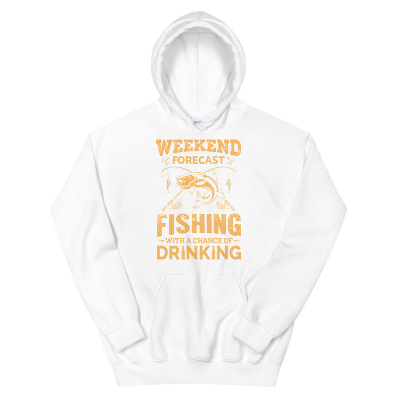 Weekend Forecast Fishing with a Change of Drinking Funny Fishing  Hoodie