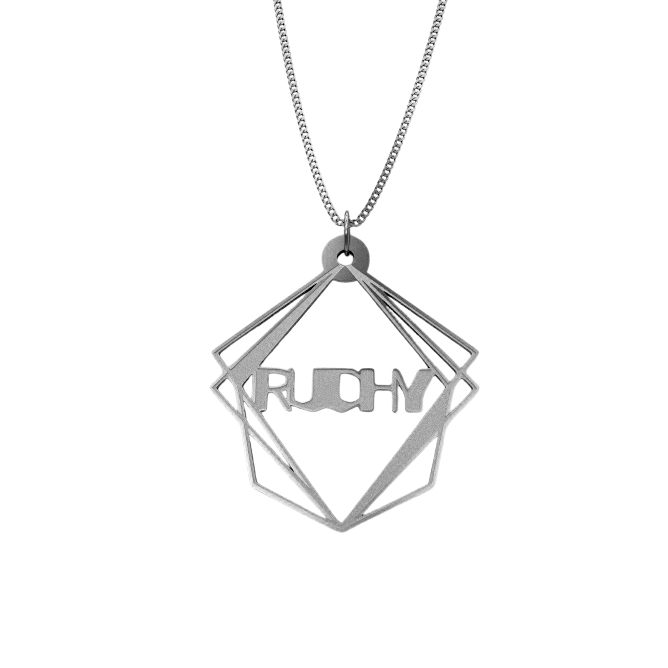 Geometric Pyramid Shape Necklace – English, Silver