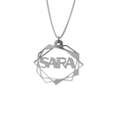 Abstract Geometric Necklace – English, Silver - NAMEBITZ