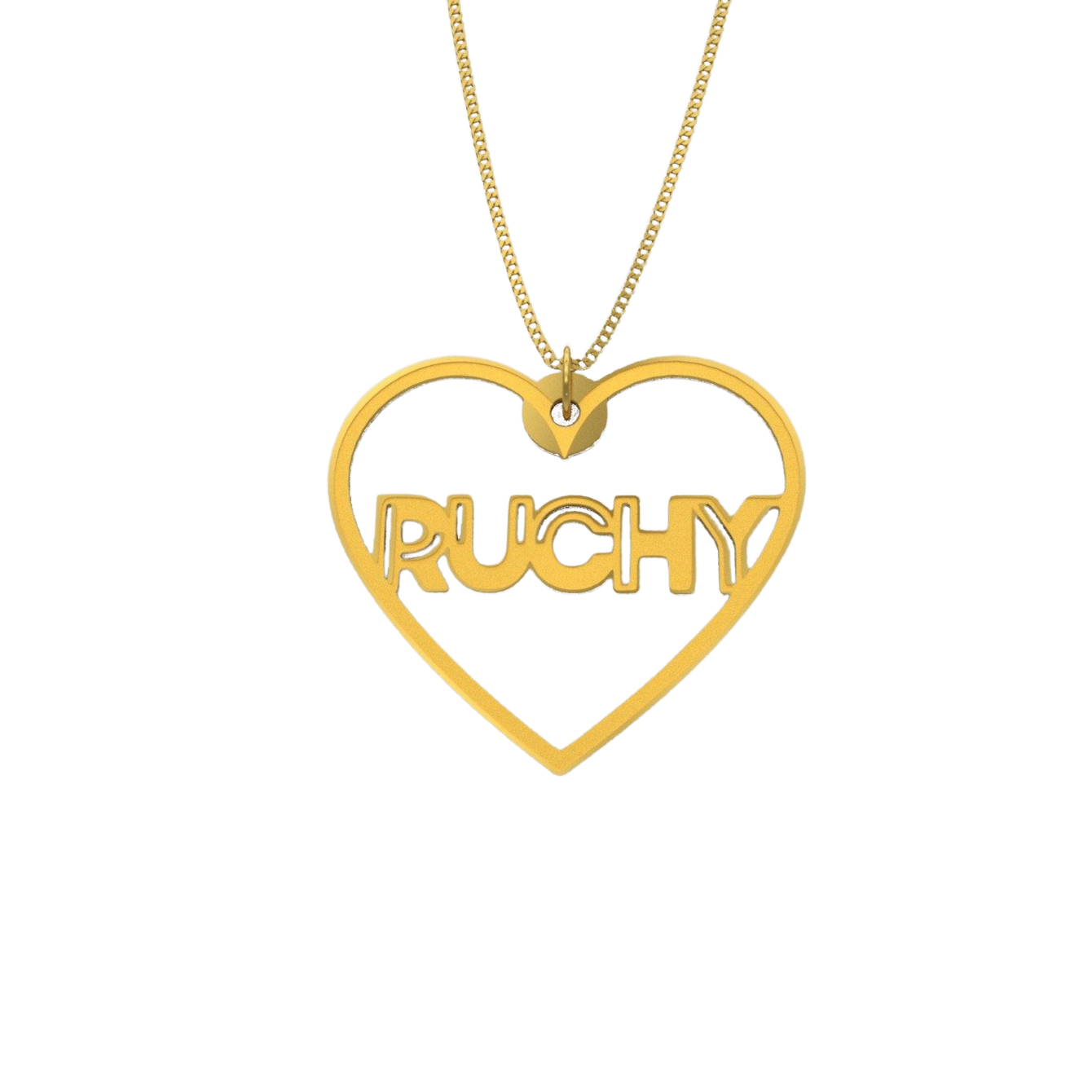 Hollow Heart Necklace – English, Gold plated
