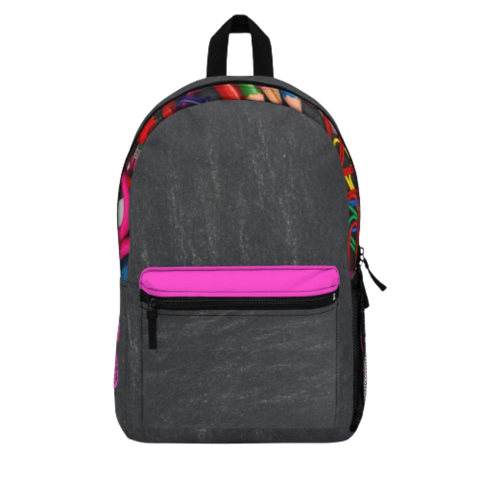 Grey Backpack with Pink Initial