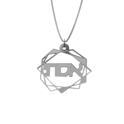 Abstract Geometric Necklace – Hebrew, Silver
