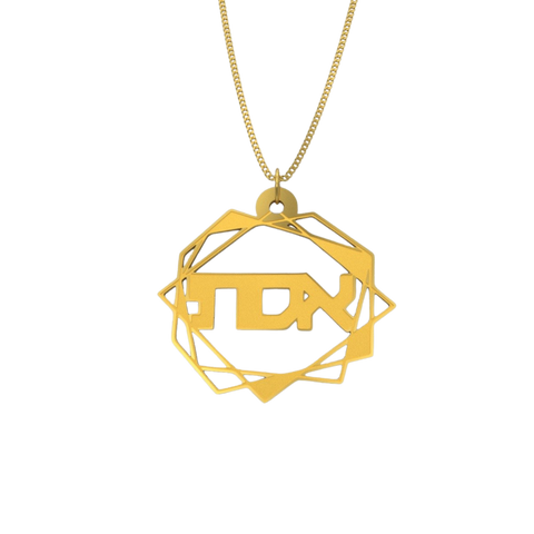 Abstract Geometric Necklace – Hebrew, Gold