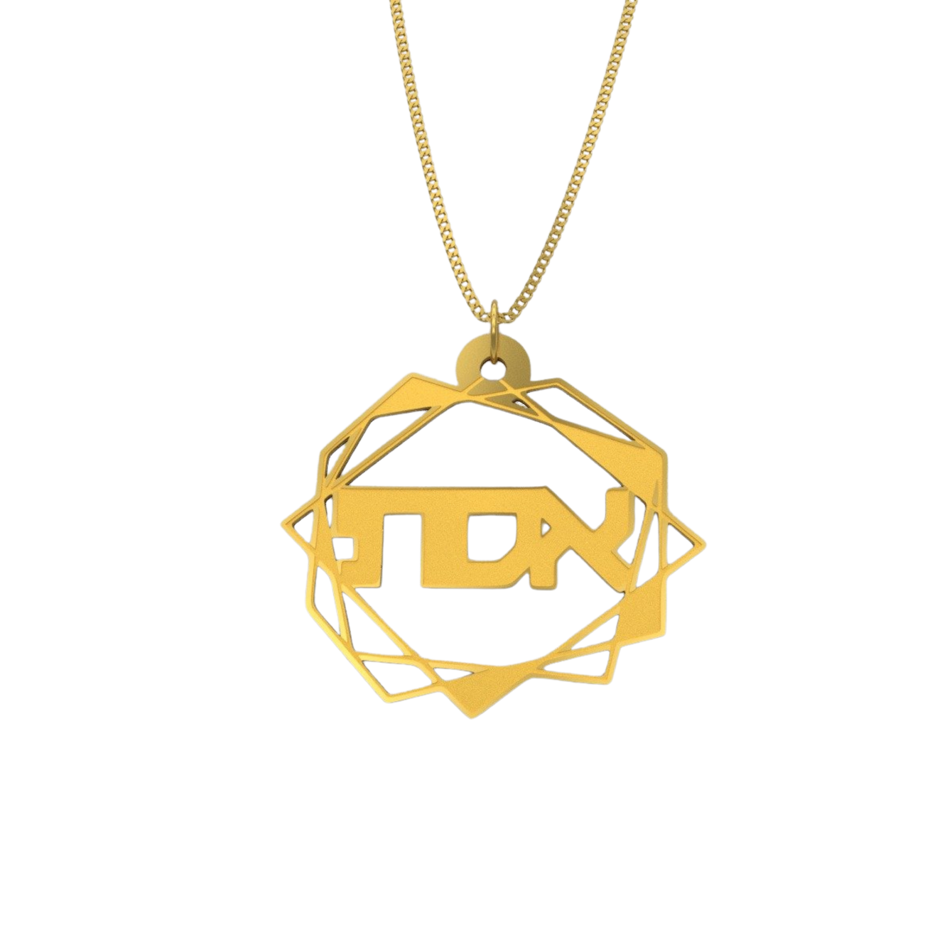 Abstract Geometric Necklace – Hebrew, Gold - NAMEBITZ