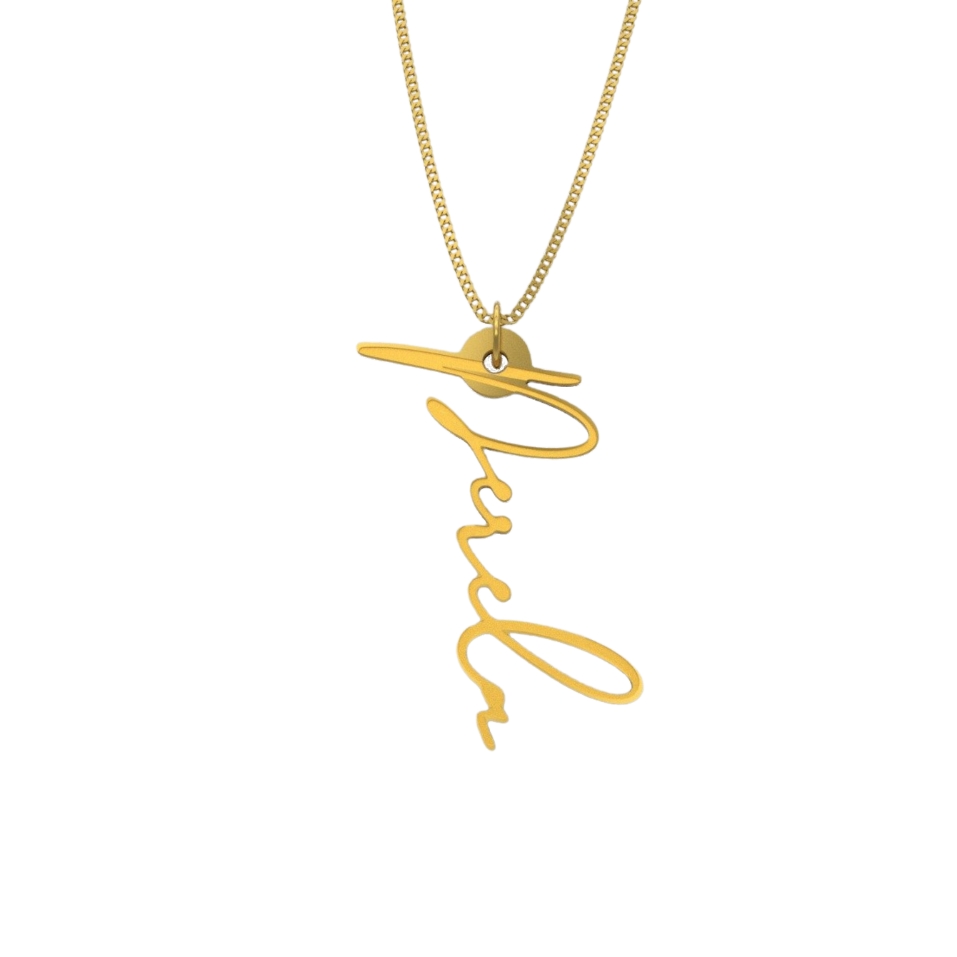 Simple Script Necklace - English, Gold - NAMEBITZ