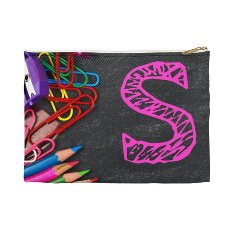 Grey Pencil Case with Pink Initial
